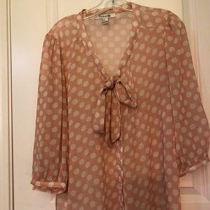 Forever 21 Bow polka dot blouse